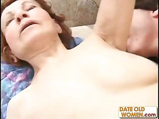Old granny gets fucked by a younger man