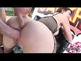 Exceptional hottie presents huge fanny and gets anal hole plowed