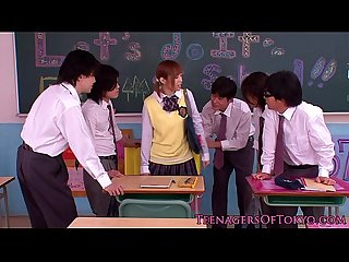Innocent asian schoolgirl in bukkake action