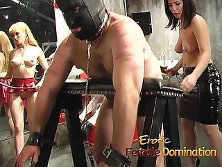 Naughty stud gets spanked by two smoking hot sex bombs