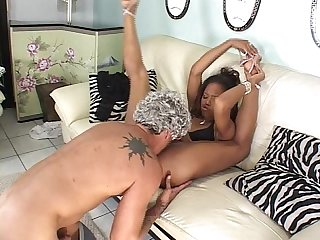Black girl fucked and eats cum