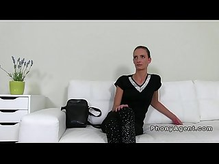 Skinny amateur fucking on casting couch