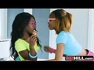 White Stepdad vs Ebony Stepdaughter and Her BFF - Azaelia, Noemie Bilas