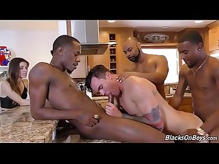 Husband gangbanged by 3 black guys while wife watches