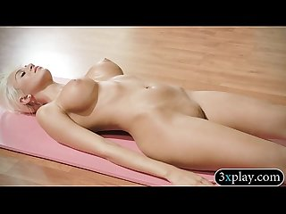 Huge titted blonde trainer and hot babes doing yoga in nude