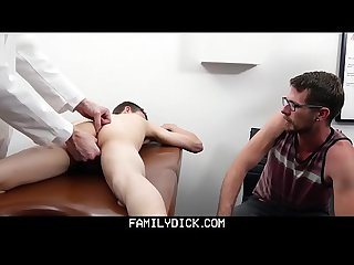 Doctor fucks patient in front of his dad