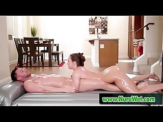 Slippery nuru massage with busty masseuse