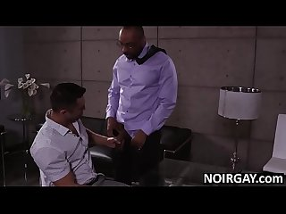 Hot guy fucks a black gay boss on job interview
