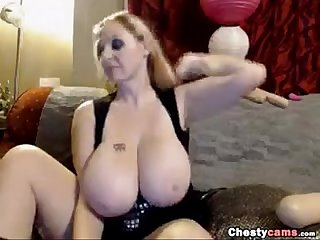Blonde BBW shows her huge tits and sucks a dick
