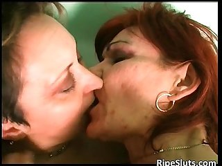 Two horny lesbian grannies enjoying