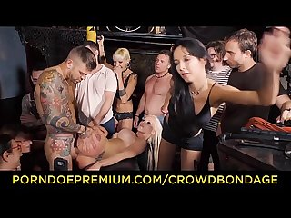 Crowd bondage busty barbie sins enjoys torture and rough sex