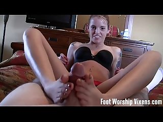 Annabelle sniffing and worshiping Dre's feet