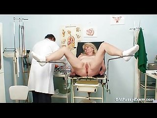 Blond grandma kinky pussy exam with enema