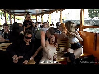 Publicdisgrace hot redhead gets fisted and fucked in the ass on a crowded party boat2
