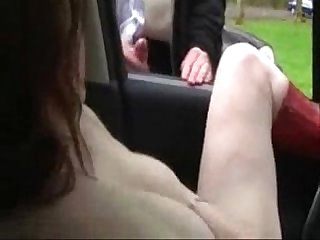 My pervert slut masturbating in car for voyeurs public nudity
