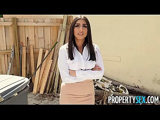 PropertySex - Agent with big tits fucks handyman in laundry room