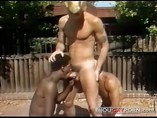 Outdoor threeway and voyeur classic 80s gay porn student