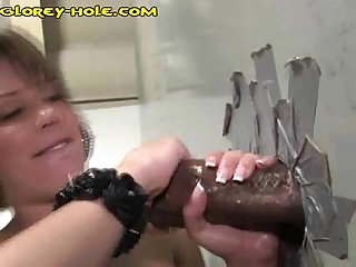 Interracial fuck at glory hole