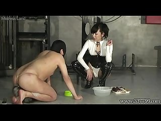 Japanese Femdom Shion dominates her slave training like a dog