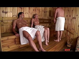 Sauna sweeties Sophie Lynx & Lina Napoli go anal on dude's thick cock
