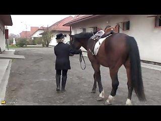 Francsina granny 62 year masturbates with horse