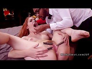 Pinched tongue redhead slave hard fucked