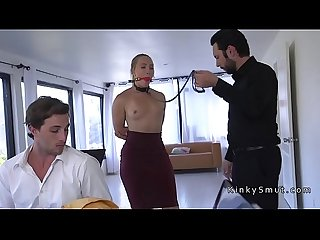 Dudes boss bangs his wife in bondage