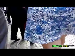 Fat brazilian with a big booty walking
