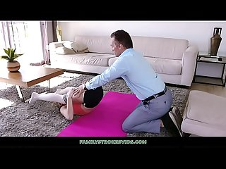 Hot Blonde Teen Turns On Stepdad During Yoga Then Fucks Him