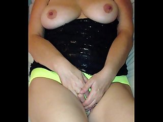sexy milf in small yellow panties masturbation to orgasm