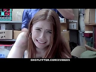 Shoplyfter redhead teen caught stealing persuades officer with Sex