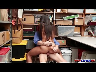 Sexy shoplifter Lily Hall fuck with the cop