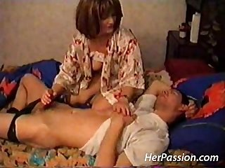 Hardcore old lady and young guy sex