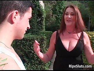 Hot horny big boobed redhead milf sucks