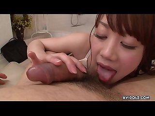 Japanese babe, Aiko Endou is sucking cock, uncensored