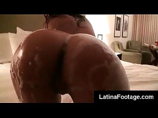 Latina babe honey luau gets on her knees to suck boyfriend off in the bathroom