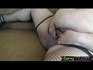 Solo SSBBW shemale teases her nipples