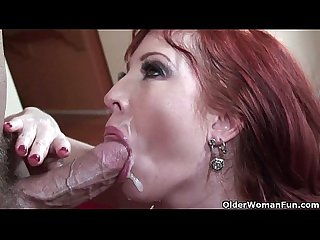 Redhead milf in stockings gets fucked