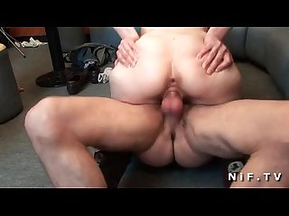 Amateur french brunette banged in threeway