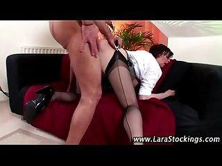 Mature classy stocking brit fuck cumshot