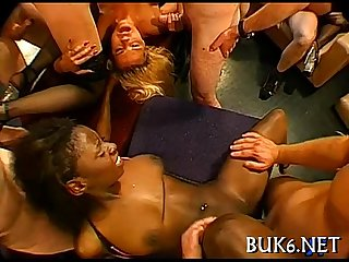 Maid gets gang team fuck session
