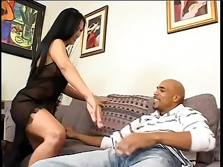 Nasty Asian housewife in black lingerie Kitty Langdon is fond of sucking huge ebony dong and..