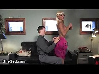 Bigtitty transsexual blondie fucks tied guy