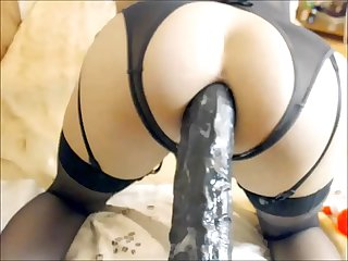 Drilling Her Tight Asshole With An Enormous Dildo - Solo Tranny