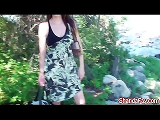Kinky milf shanda fay masturbates out by the lake