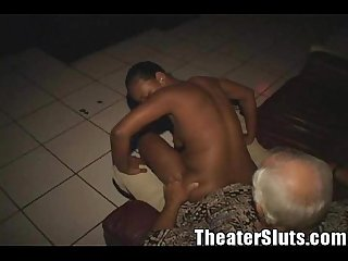 Ebony submissive monique gets gangbanged in the porn theater
