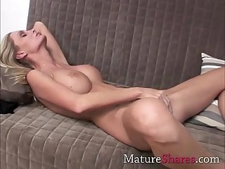 Skinny blonde matre with huge tits