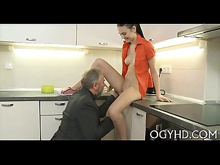 Young babe sucks and rides old rod