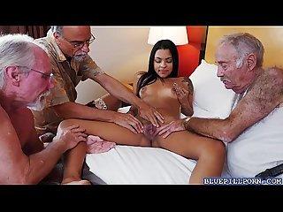 Latina slut Nikki Kay shares her pussy with 3 old men