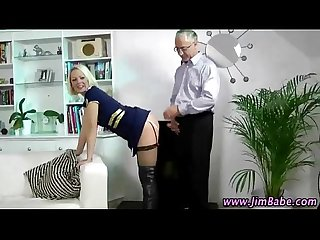 Hot stockings blonde gets off